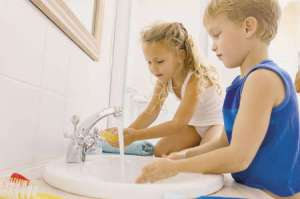 Teaching children to wash their hands properly is an important skill.