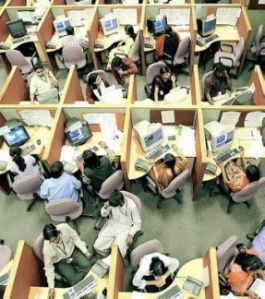 Work places such as call centers have challenges when trying to social distance employees 3 - 6 feet from each other.