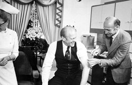 President Gerald Ford receiving a Swine Flu vaccine in 1976 in the Oval Office