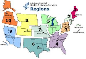 It is easier to note which areas aren't above the normal - 1, 2 and 8 report below normal influenza activity.