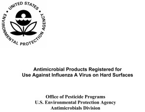 Antimicrobial Products Registered for Use Against Influenza A Vi