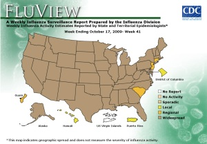 """During week 41 influenza activity was """"widespread"""" in the US."""
