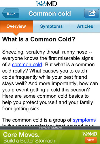 A page from WebMD
