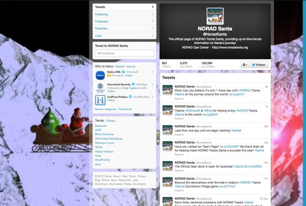 Twitter handle: NORAD Santa @NoradSanta