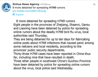 Xinhua Twitter post